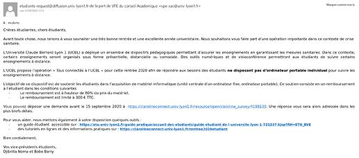 Mail des VPE Lyon 1